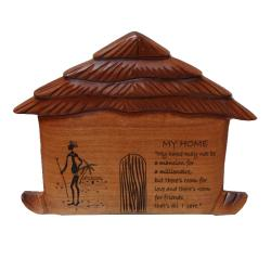Wooden 'My Home' Wall Hut Plaque (Ghana)