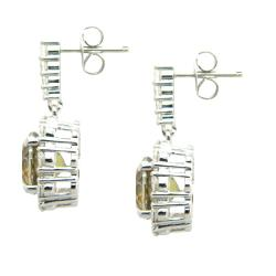 D'sire Sterling Silver Topaz and Cubic Zirconia Dangle Earrings - Thumbnail 1