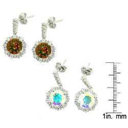D'sire Sterling Silver Topaz and Cubic Zirconia Dangle Earrings - Thumbnail 2