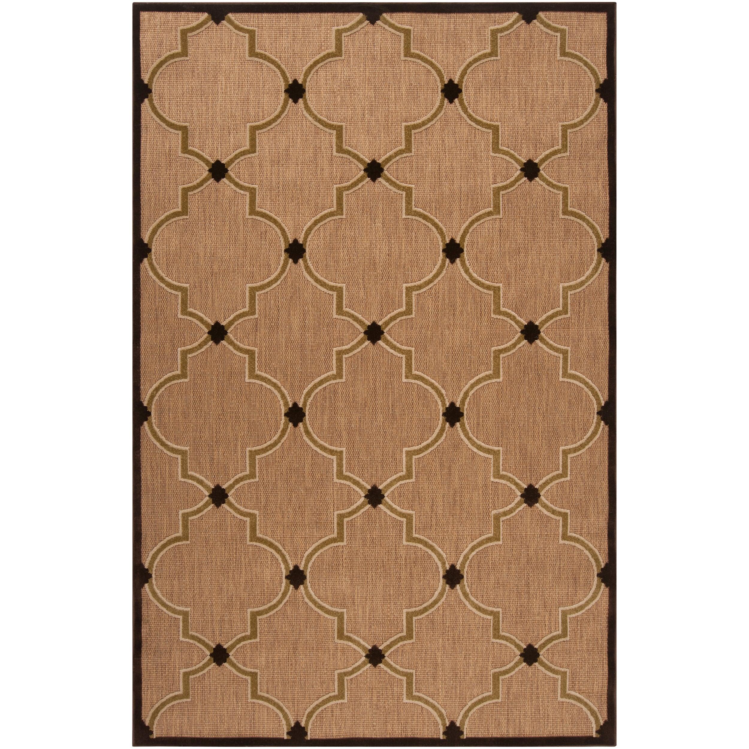 Woven Tan Tewa Indoor/Outdoor Moroccan Lattice Area Rug (8'8 x 12')
