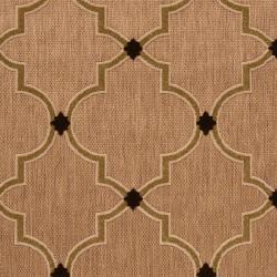 Woven Tan Tewa Indoor/Outdoor Moroccan Lattice Rug (8'8 x 12') - Thumbnail 2