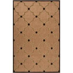 Woven Tan Tewa Indoor/Outdoor Moroccan Lattice Area Rug (8'8 x 12') - Thumbnail 0