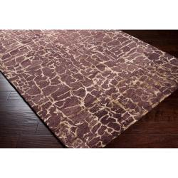 Hand-tufted Contemporary Purple Mastiff New Zealand Wool Abstract Rug (3'3 x 5'3) - Thumbnail 1
