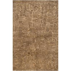 Hand-tufted Contemporary Brown Tolling New Zealand Wool Abstract Rug (3'3 x 5'3)