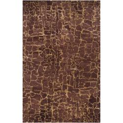 Hand-tufted Contemporary Purple Mastiff New Zealand Wool Abstract Area Rug (3'3 x 5'3) - Thumbnail 0