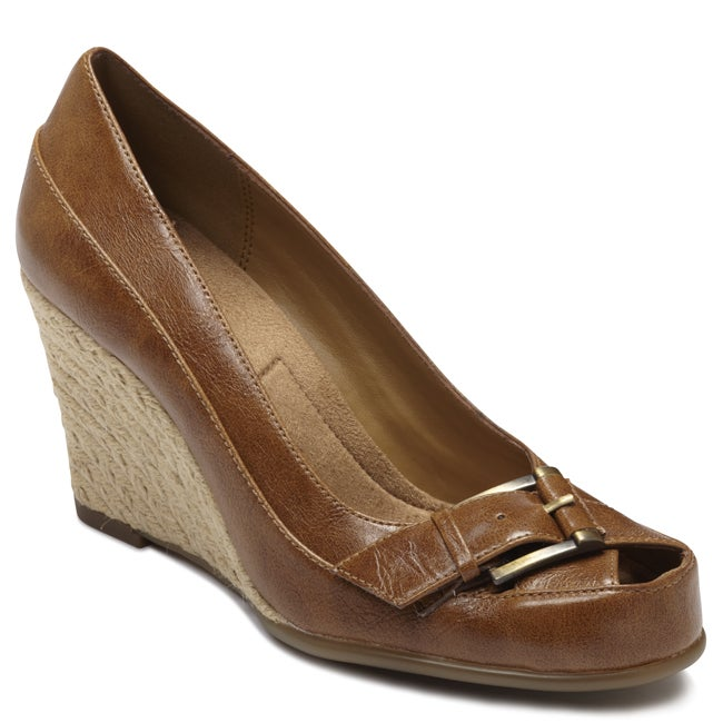 A2 by Aerosoles Women's 'Farewell' Tan Peep-toe Wedges