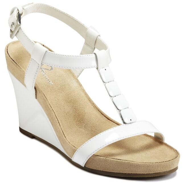 A2 by Aerosoles Women's 'Rose Plush' White Wedge Sandals