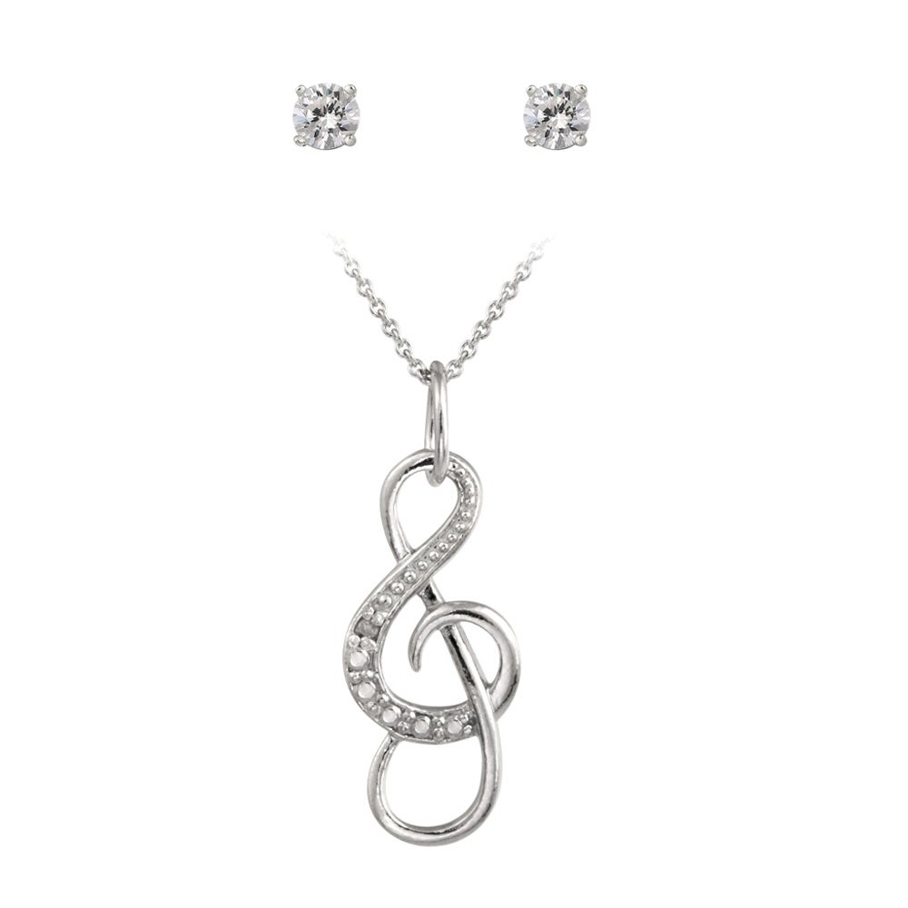 Icz Stonez Sterling Silver Cubic Zirconia Musical Note Jewelry Set (7/8ct TGW)