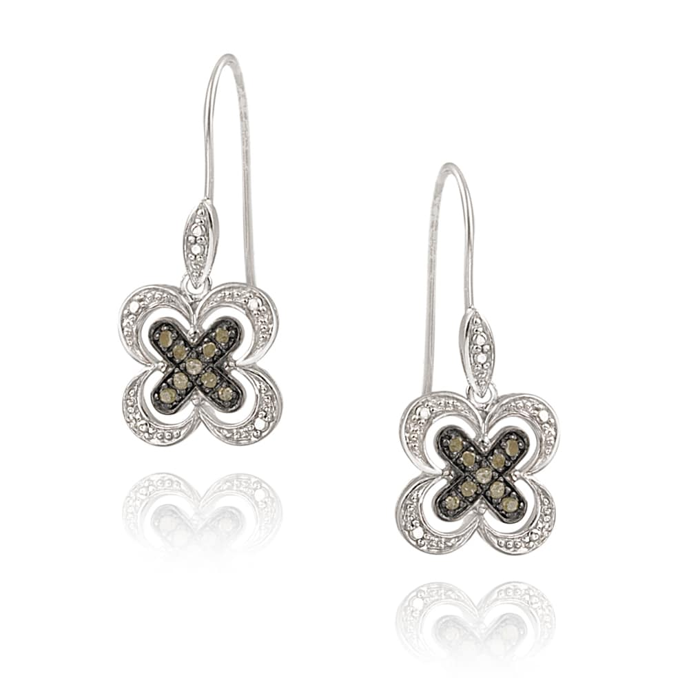 DB Designs Sterling Silver 1/5ct TDW Champagne Diamond Flower Earrings