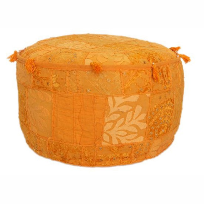 nuLOOM Handmade Casual Living Indian Round Orange Pouf