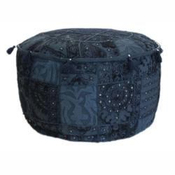 nuLOOM Handmade Casual Living Indian Round Blue Pouf - Thumbnail 0