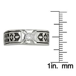 Sterling Silver Men's 1/4ct TDW Round Diamond Ring (H-I, I1-I2) - Thumbnail 2