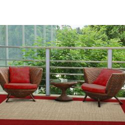 Indoor/ Outdoor Crosshatch Red Rug (5' x 8') - Thumbnail 1