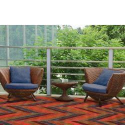 Indoor/ Outdoor Herringbone Multi Rug (5' x 8')