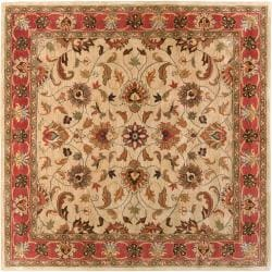 Hand-tufted Abiqua Beige/Red Traditional Border Wool Rug (4' Square)
