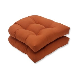 Pillow Perfect Burnt Orange Outdoor Cinnabar Wicker Seat Cushion (Set of 2)