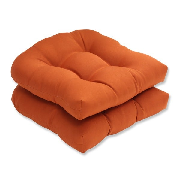 Pillow Perfect Burnt Orange Outdoor Cinnabar Wicker Seat