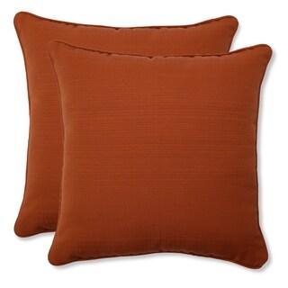 Pillow Perfect Burnt Orange Outdoor Cinnabar Corded Throw Pillow (Set of 2)
