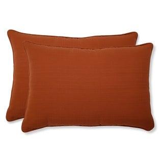 Pillow Perfect Outdoor Cinnabar Corded Oversized Rectangular Throw Pillow in Burnt Orange (Set of 2)