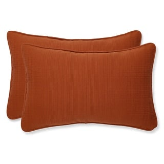 Pillow Perfect Burnt Orange Outdoor Cinnabar Corded Rectangular Throw Pillow (Set of 2)