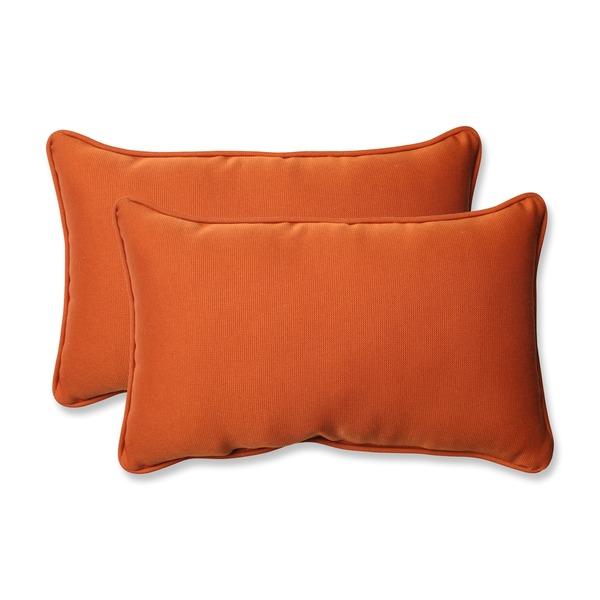 Pillow Perfect Burnt Orange Outdoor Cinnabar Corded Rectangular Throw Pillow (Set of 2)