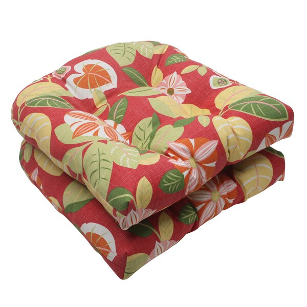 Pillow Perfect Red Outdoor Orient Wicker Seat Cushion (Set of 2)