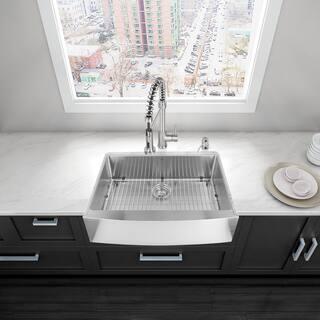 Vigo 30 Inch Farmhouse Stainless Steel 16 Gauge Single Bowl Kitchen Sink With Rounded Edge