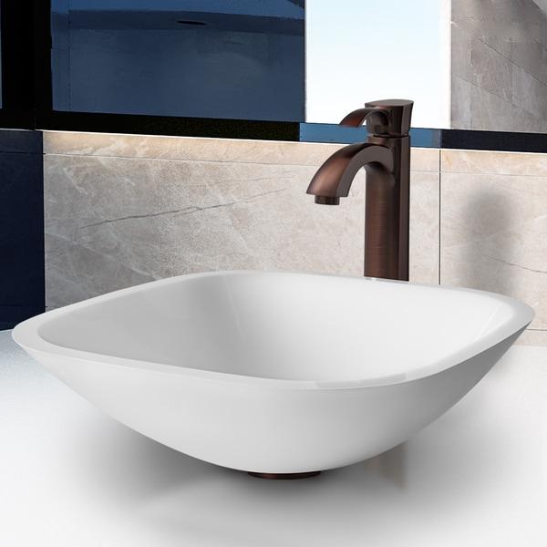 VIGO Square Shaped White Phoenix Stone Glass Vessel Sink with Oil Rubbed Bronze Faucet