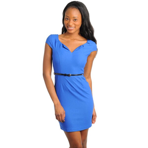 Stanzino Women's Royal Skinny Belted Cap Sleeve Dress