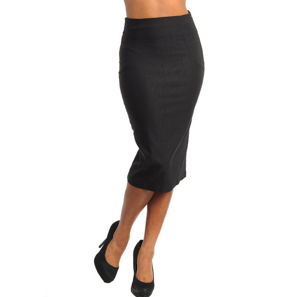 c7b4ec07c Shop Stanzino Women's Black Mid-length Pencil Skirt - Free Shipping ...
