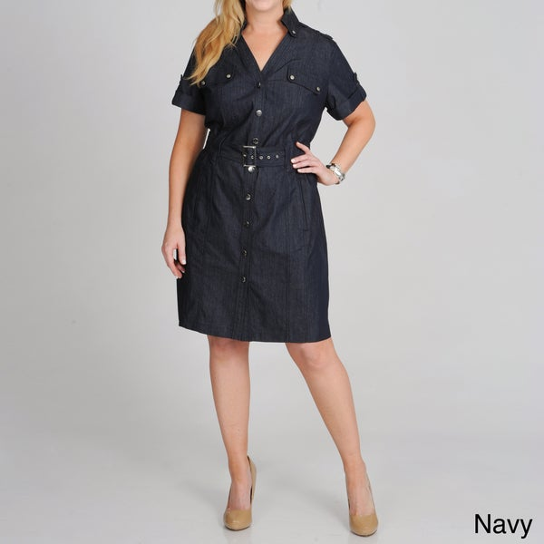 aac5d3f4123 Shop Sharagano Women s Plus Size Belted Shirtdress - Free Shipping ...