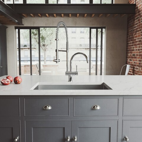 """VIGO All-In-One 32"""" Ludlow Stainless Steel Undermount Kitchen Sink Set With Dresden Faucet In Chrome"""