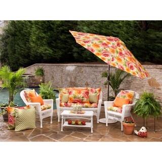 Pillow Perfect Orange Outdoor Primro Wicker Seat Cushion (Set of 2)