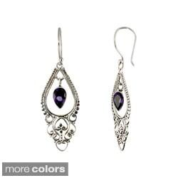 Sterling Silver Amethyst or Blue Topaz Pear Shape Balinese Dangle Earrings