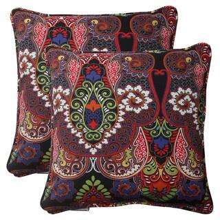 Pillow Perfect Black Outdoor Marapi Corded Throw Pillow (Set of 2)