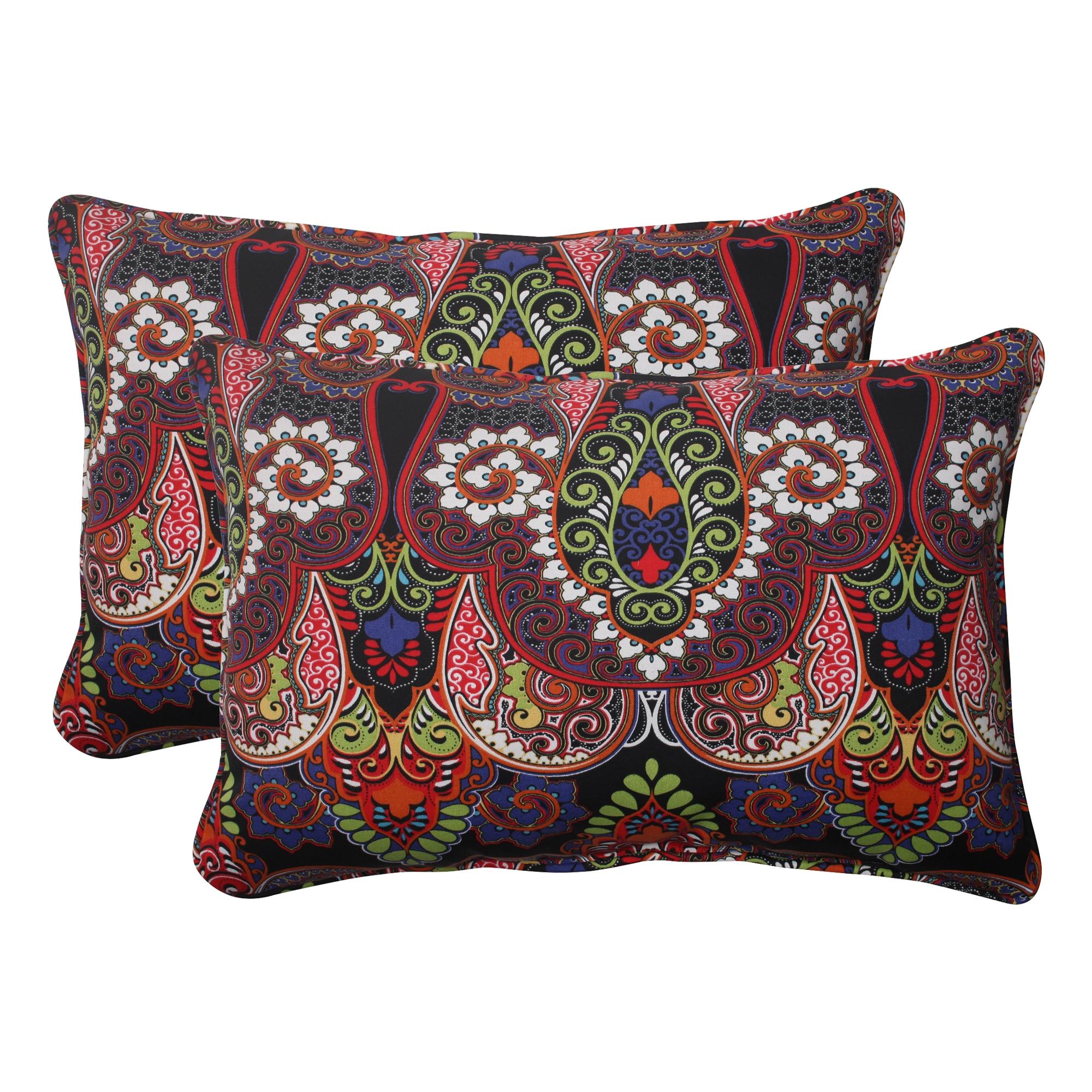 Pillow Perfect Black Outdoor Marapi Corded Oversized Rectangular Throw Pillow (Set of 2) (Black)