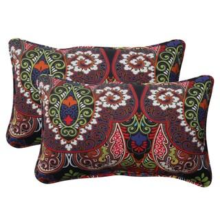 Pillow Perfect Black Outdoor Marapi Corded Rectangular Throw Pillow (Set of 2)