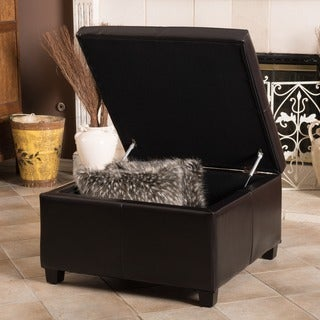 Weldon Leather Storage Ottoman by Christopher Knight Home