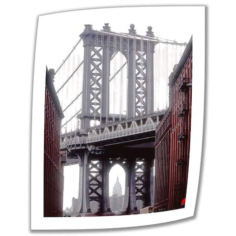 Linda Parker 'Manhattan Bridge with Empire State Building' Unwrapped Canvas - Multi