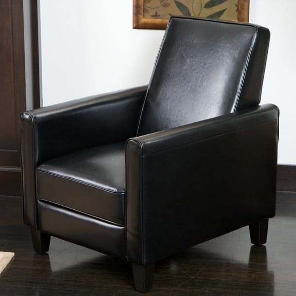 Delicieux Darvis Black Bonded Leather Recliner Club Chair By Christopher Knight Home