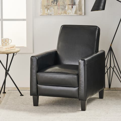 Darvis Black Bonded Leather Recliner Club Chair by Christopher Knight Home