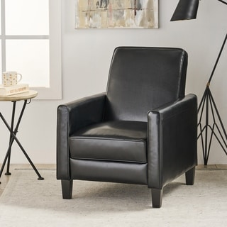 Awesome Darvis Black Bonded Leather Recliner Club Chair By Christopher Knight Home