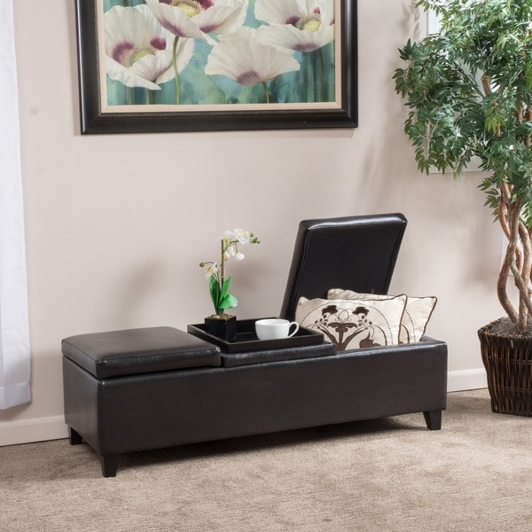 Harold Espresso Leather Storage Ottoman by Christopher Knight Home