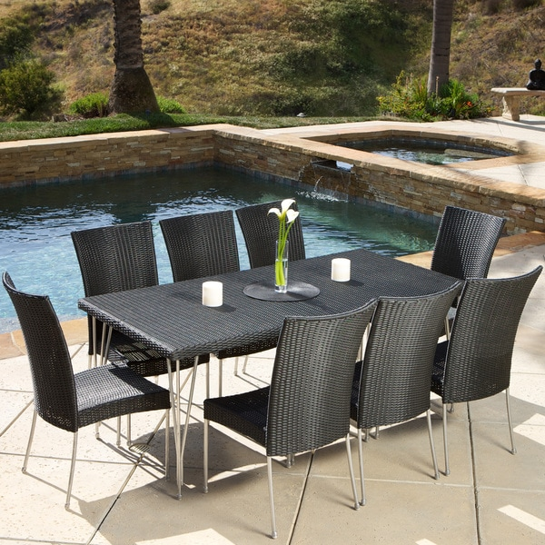 fairfield 9 piece outdoor dining set by christopher knight home free