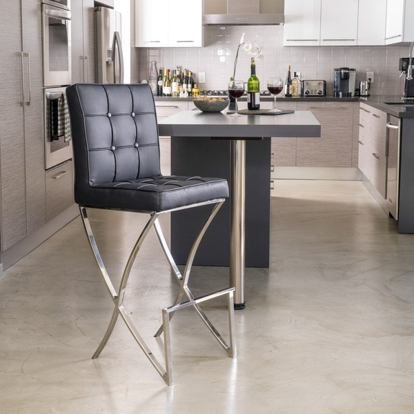 Markson Black Leather Barstool by Christopher Knight Home