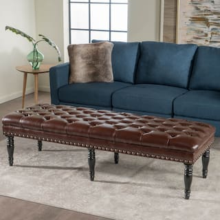 Clive Contemporary Tufted Ottoman Bench with Nailhead Trim by Christopher Knight Home