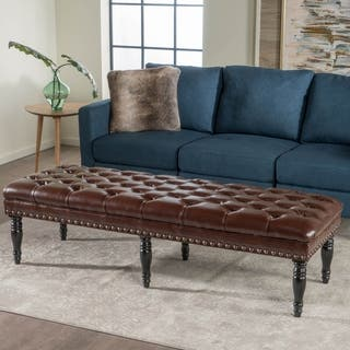 Clive Tufted Leather Bench Ottoman by Christopher Knight Home