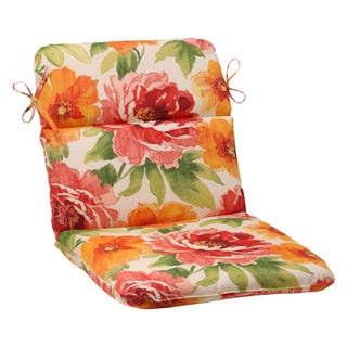 Pillow Perfect Orange Outdoor Primro Rounded Chair Cushion