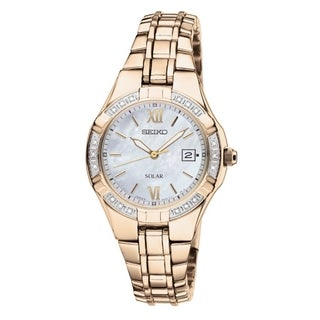SEIKO Women's Solar Mother-Of-Pearl Gold Diamond Watch