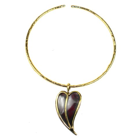 Handmade Heart Copper and Brass Pendant Necklace (South Africa)